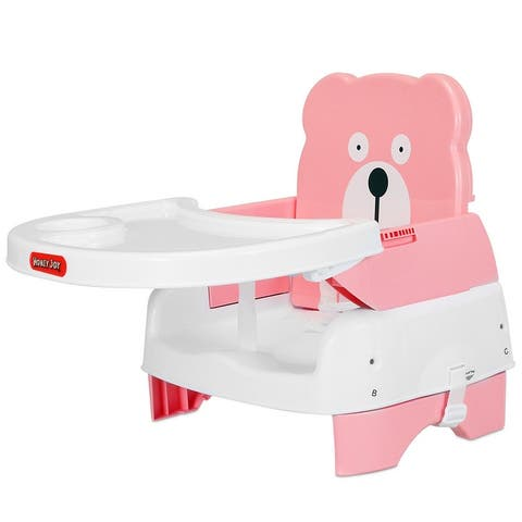 Portable Folding Booster Seat Toddler Chair Adjustable Height Safety