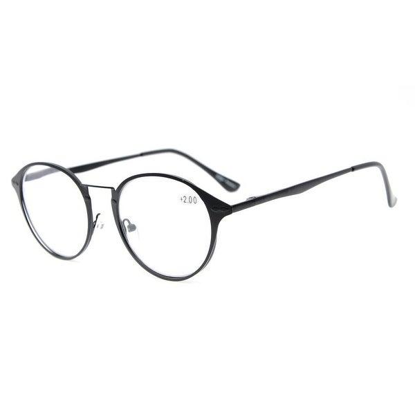 4fb6a8e8374 Shop Eyekepper Spring Hinges Retro Round Eyeglasses Black+0.5 - Free ...