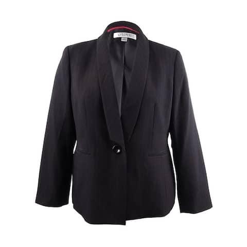 Kasper Women's Striped Shawl-Collar Jacket - Black/Fire Red