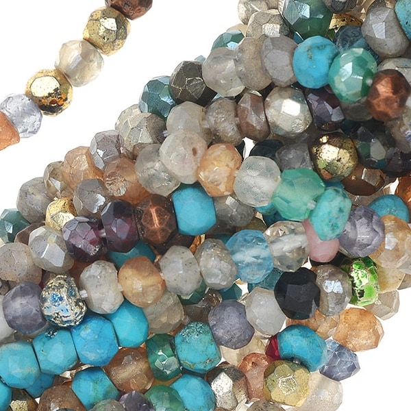 Mixed Gemstone Beads, Faceted Rondelles 2x3mm, 13 Inch Strand, Multi