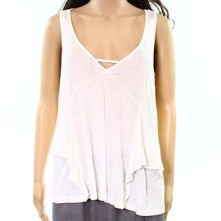 Wild Pearl NEW White Ivory Womens Size XL Racerback Ruffled Tank Top