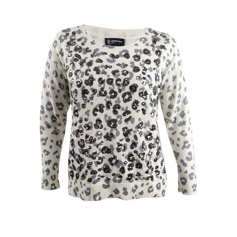 INC International Concepts Women's Sequined Printed Sweater (1X, Washed White) - Washed White - 1X