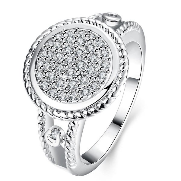White Gold Circular Jewels Ring
