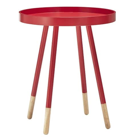 Marcella Paint-Dipped Round Tray-Top Side Table by iNSPIRE Q MODERN - Side Table