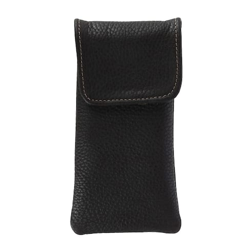 CTM® Leather Soft Eyeglass Case with Holster Clip - one size