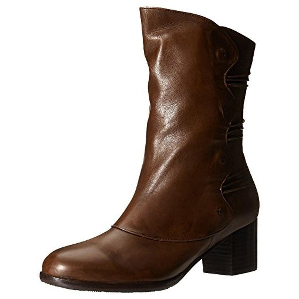 Everybody Womens Rachel Mid-Calf Boots Leather Round Toe