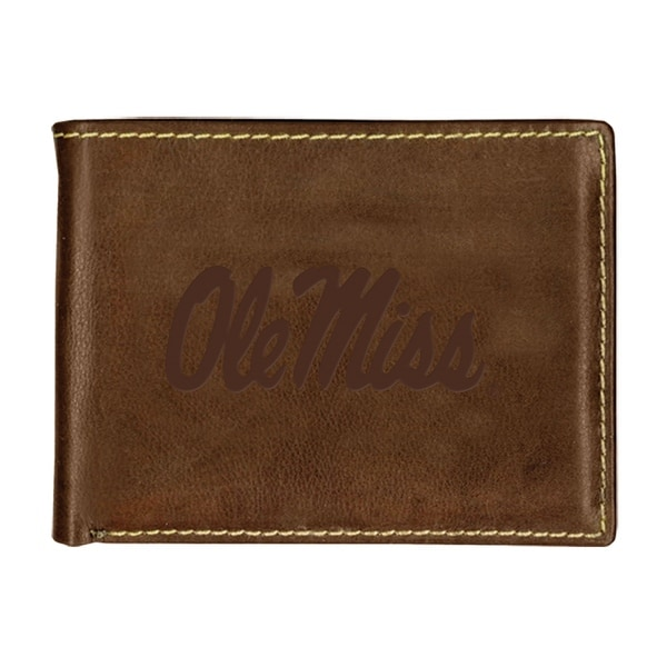 University of Mississippi Contrast Stitch Bifold Leather Wallet