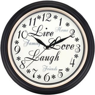 Westclox Round Live Love Laugh Clock, Black-White, 12 Inches