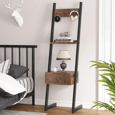 Nightstand, Retro Tall Bedside Table with 3 Hooks and Shelf, 3-in-1 Narrow Side Tables