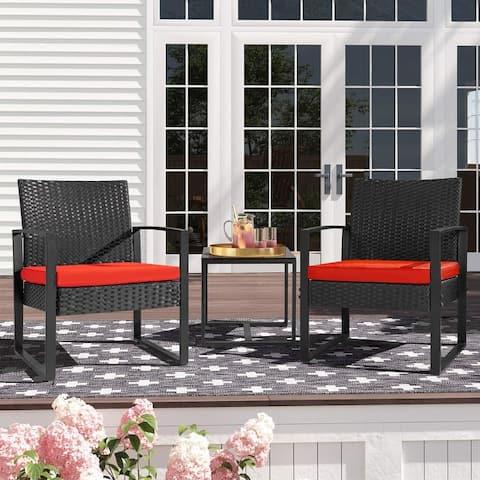 Homall 3 Pieces Patio Set Outdoor Wicker Patio Furniture Sets Modern Bistro Set Rattan Chair Conversation Sets