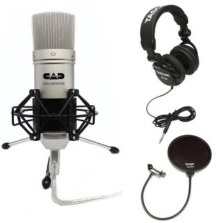 CAD Audio GXL2400 Cardioid USB Microphone w/ Studio Grade Headphones Bundle