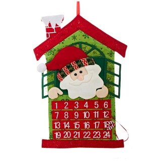 "24"" Red and Green Santa Claus Christmas Advent Calendar"