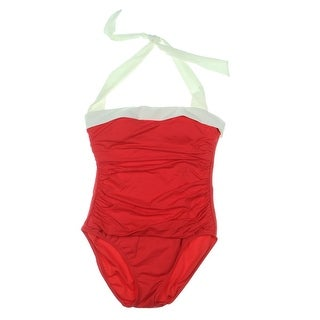 Lauren Ralph Lauren Womens Halter Ruched One-Piece Swimsuit - 8