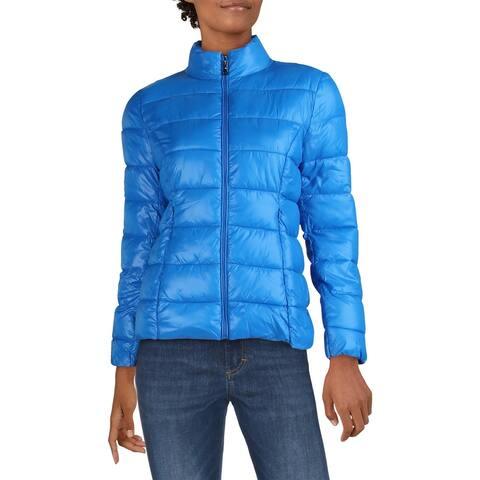 Aqua Womens Puffer Coat Winter Lightweight - Bright Blue