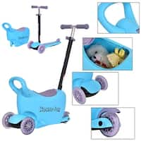 Costway Kids Scooter 3 In 1 Blue Kick Wheel Adjust Handle Bar w Storage Christmas Gift