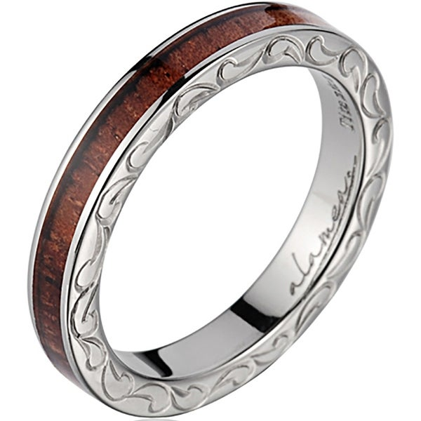 Titanium Wedding Band With Koa Wood Inlay 3mm