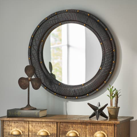 Dodds Indoor Croco Leather Handcrafted Studded Round Wall Mirror by Christopher Knight Home