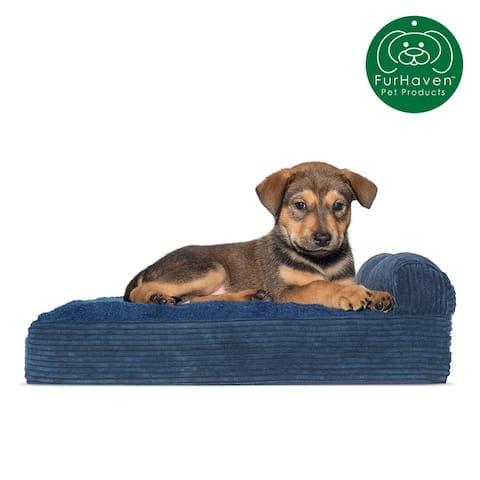 FurHaven Pet Bed Faux Fleece & Corduroy Chaise Lounge Orthopedic Sofa Dog Bed