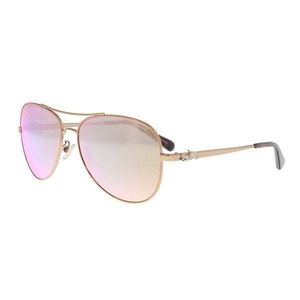 77a619b580f Shop Coach HC7074 9309R5 Rose Gold Aviator Sunglasses - 59-15-140 ...
