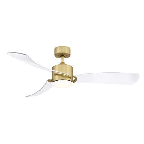 SculptAire - 52 inch Indoor/Outdoor Ceiling Fan with Clear Blade Set and LED Light Kit - Brushed Satin Brass
