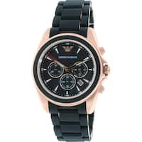 Emporio Armani Men's  Black Silicone Japanese Quartz Dress Watch