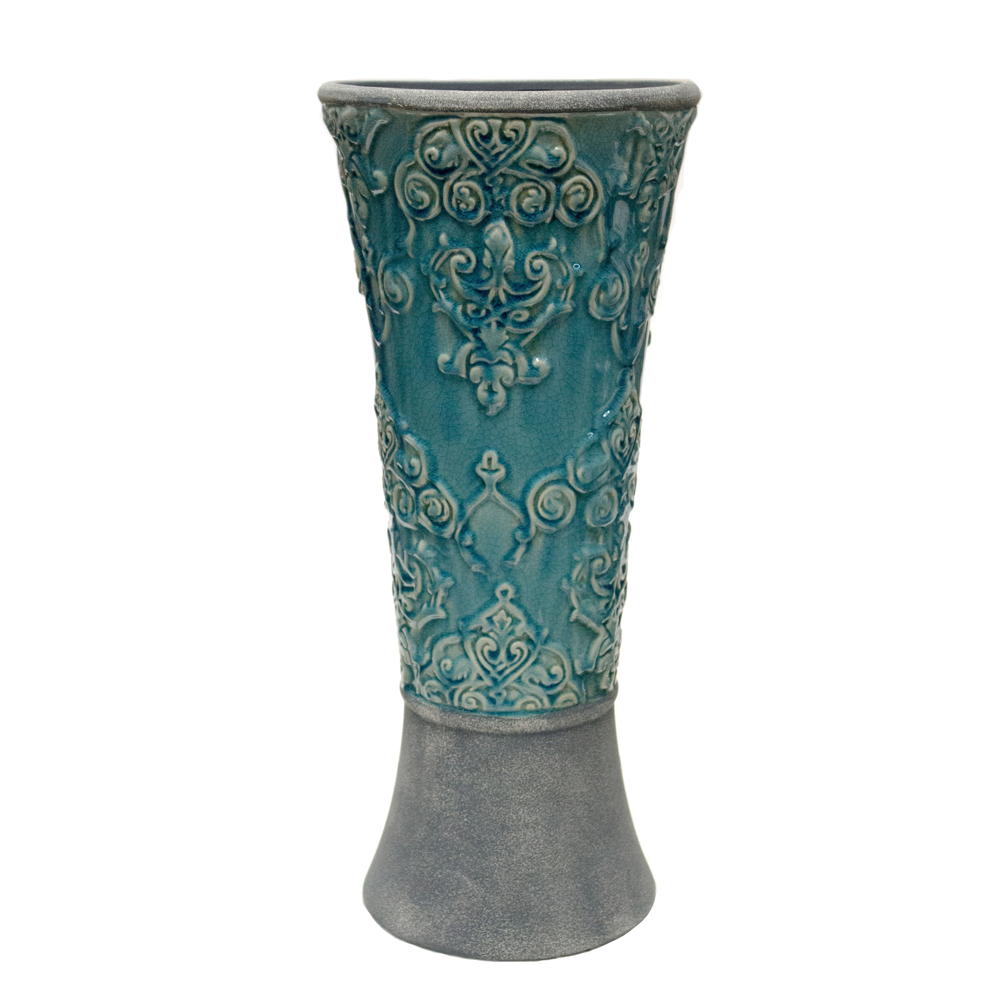 Dual Tone Ceramic Beaker Vase with Embossed Botanical Texture, Blue and Gray
