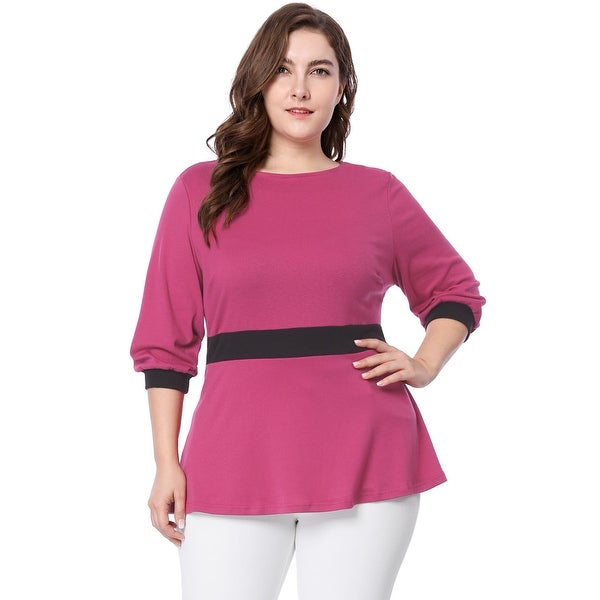 Allegra K Women Plus Size Contrast Color 34 Sleeve Comfy Peplum Top