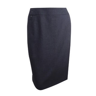 Calvin Klein Women's Plus Size Coin Pocket Suiting Skirt - charcoal