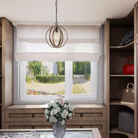 """Farmhouse 1-light Faux Wood Pendant Lights Orb Chandelier Fixture - W11""""xH13"""""""