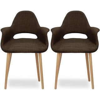 2xhome - Set of Two (2) - Brown - Upholstered Organic Arm Chair Armchair Fabric Chair Brown with Light brown Natural Wood Legs