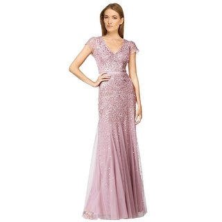 Adrianna Papell Embellished Cap Sleeve Evening Gown Dress - 10