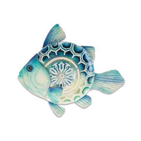 Handmade Blue Fish Metal Art Wall Decor
