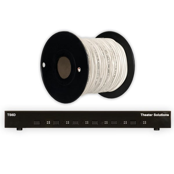 Theater Solutions TS6D Six Zone Dual Input Speaker Selector Box & C100-14-2 Wire