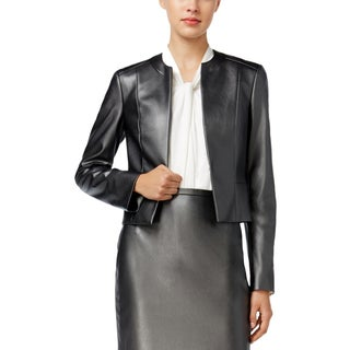 Tommy Hilfiger Womens Open-Front Blazer Faux Leather Long Sleeves