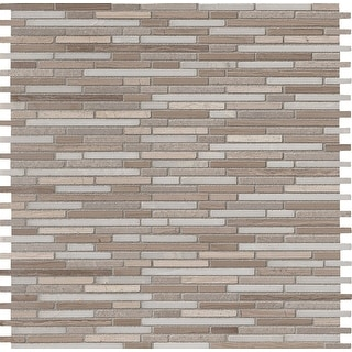 "MSI AS-BMP10MM  12"" x 12"" Random Linear Mosaic Wall & Floor Tile - Smooth Marble Visual - Sold by Carton (10 SF/Carton) - Honed"