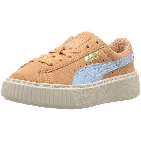 Kids Puma Girls Suede Platform SNK PS Low Top Lace Up Running Sneaker