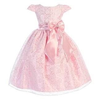 Girls Pink Lace Overlay Satin Bow Cap Sleeve Junior Bridesmaid Dress