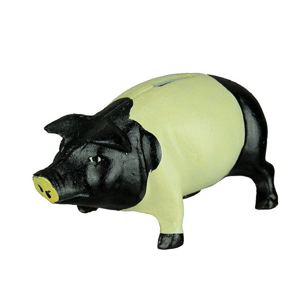 Black and White Cast Iron Vintage Style Piggie Bank - 4 X 7.5 X 4 inches