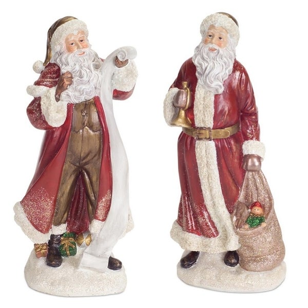 Pack of 4 Traditional Victorian Style Santa Claus Table Top Christmas Decoration 10""