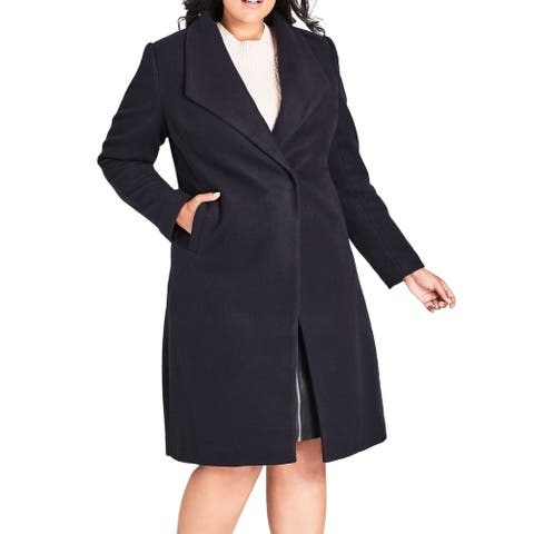 City Chic Women's Peacoat Navy Blue Size 18W Plus Single-Breasted