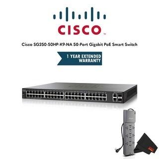Cisco SG250-50HP-K9-NA 50-Port Gigabit PoE Smart Switch with 1 Year Extended Warranty and Belkin Powerstrip Bundle