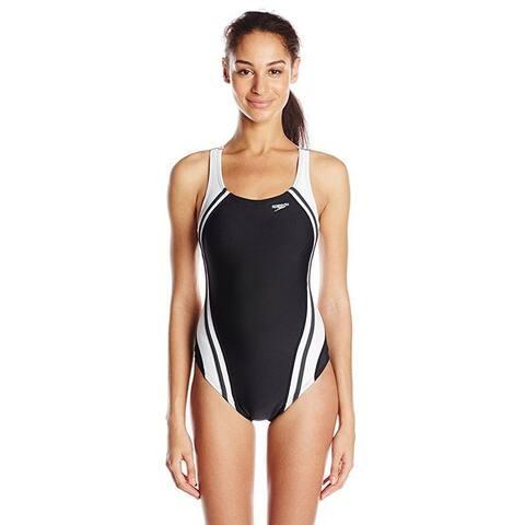 Speedo Women's Quantum Splice Power flex Eco One Piece Swimsuit, Black, 6