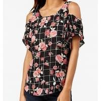 BCX Black Size Small S Junior Cold Shoulder Floral Print Blouse