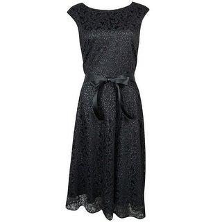 Tahari Women's Sleeveless Belted Metallic Overlay A-Line Dress