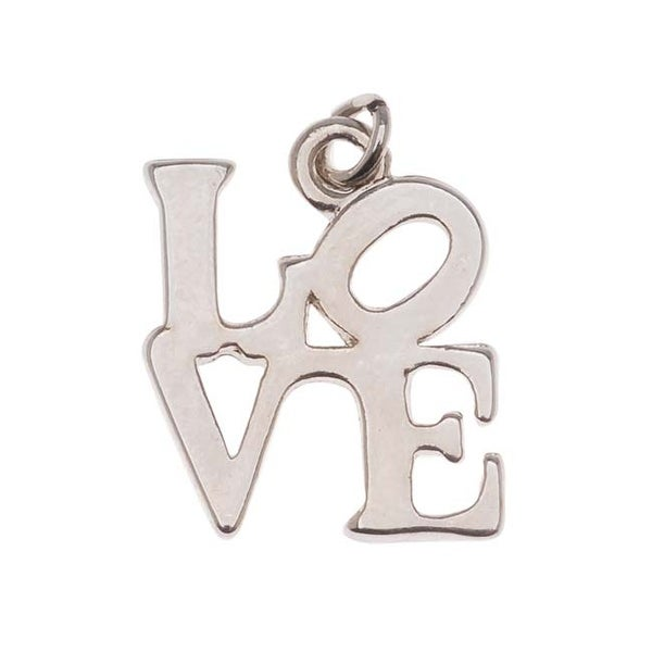 Silver Tone Robert Indiana's LOVE Square Charm 20mm (1)
