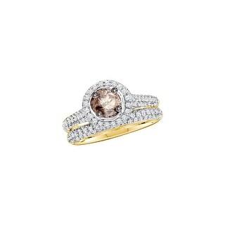 14k Yellow Gold Cognac-brown Round Diamond Solitaire Bridal Wedding Engagement Ring Set 1 & 1/4 Ctw - Brown/White