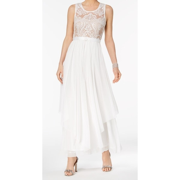 291198121b1 Shop R M Richards White Womens Size 6 Sequin Lace Pleated Gown Dress ...