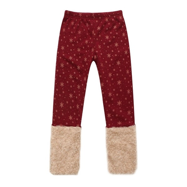 Richie House Little Girls Red Gold Snowflakes Fluffy Cuffs Pants 3