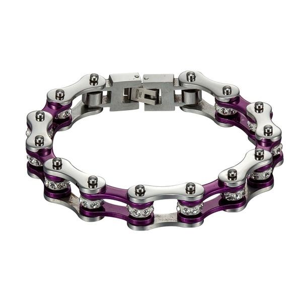 Biker Motorcycle Link Bracelet Silver Purple Stainless Steel New In Style