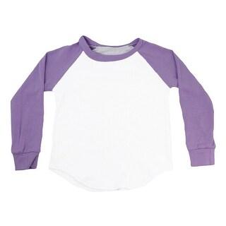 Unisex Baby Lavender Two Tone Long Sleeve Raglan Baseball T-Shirt